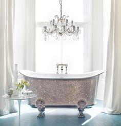 Luxury Life Design: Catchpole And Rye's Swarovski-Encrusted Bathtub Glitter Room, Glitter Bathroom, Bathroom Bath, Glitter Home Decor, Glitter Uggs, Life Design, House Design, Beautiful Bathrooms, Romantic Bathrooms
