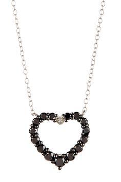 Silver Black & White Diamond Cutout Heart Pendant Necklace oooooo purdy