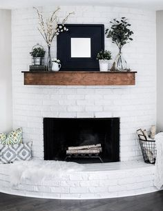 Modern farmhouse summer coat decoration ideas - joyful derivatives, Get ideas for decorating a spring fireplace that also serves as a summer coat. See the white bricks of our fireplace pop against this farmhouse-style . Farm House Living Room, Farmhouse Decor, Home Fireplace, Fireplace Mantle Decor, Rustic Farmhouse Fireplace, Mantle Decor, Summer Living Room Decor, Modern Fireplace, Rustic House