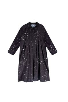 The White Pepper | Pleat Shirt Dress Constellation Print