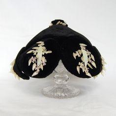 Vintage 1940s Black Velvet and Shell Hat. $42,00, via Etsy.