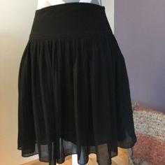 Black Skirt  Full black skirt falls at the knee, very feminine. Fully lined. LOFT Skirts