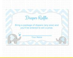 free printable elephant diaper raffle | ... Raffle Ticket - printable baby shower games - printable diaper raffle