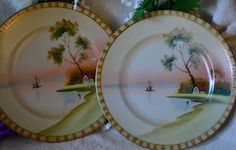 2 Vintage Hand Painted Plates Painted Plates with by SimplyChina, $12.00 https://www.facebook.com/mySimplyChina