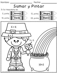 fun st patrick's day packet with math and language arts, early elementary, 100% in Spanish $