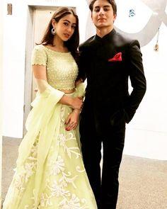 sara ali khan ibrahim khan-Best dressed celebrities at the Virushka wedding reception Wedding Dresses Men Indian, Wedding Dress Men, Indian Fashion Dresses, Indian Designer Outfits, Indian Outfits, Mehendi Outfits, Western Outfits, Wedding Wear, Bridal Dresses