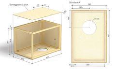 """Cajón selber bauen: Materialliste: Birke-Sperrholz 3 mm dick: - 1 Schlagfläche 450 mm x 300 mm; Birke-Sperrholz 6,5 mm dick: - 2 Seitenwände 437 mm x 297 mm, - je ein Deckel/Boden 300 mm x 297 mm, - 1Rückwand437mmx287mm; Quadratstab 14 mm x 14 mm (astfrei) Kiefer: - 4 Leisten längs (Seitenwände) 437 mm, - 4 Leisten quer (Seitenwände) 262,5 mm, - 4 Leisten quer (Boden/Deckel) 259 mm; 6 Senkkopfschrauben 3 x 16; 4 Rundkopfschrauben 3 x 16 Holzleim; 14""""-Snareteppich Materialkosten rund…"""