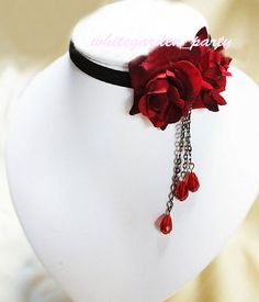 Black Double Red Rose Rococo Goth Cocktail Party Bridal Velvet Necklace sold by White Garden. Shop more products from White Garden on Storenvy, the home of independent small businesses all over the world. Cute Jewelry, Diy Jewelry, Jewelery, Jewelry Accessories, Fashion Accessories, Jewelry Making, Heart Jewelry, Wedding Jewelry, Jewelry Box