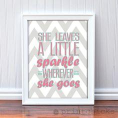 Girl's Room Decor Sparkle Chevron Quote Nursery or by PrintChicks, $18.00