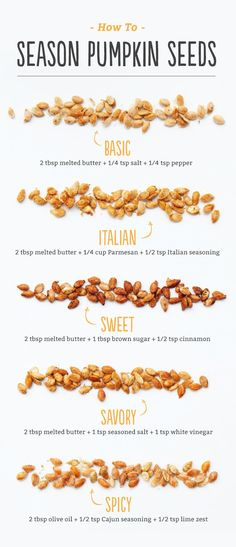 How to Roast Pumpkin Seeds Find our no-fail method for roasting pumpkin seeds and make a delicious tradition with your family! Plus we have five super-simple seasonings you have to try: basic, Italian, sweet, savory and spicy. Fall Recipes, Holiday Recipes, Snack Recipes, Cooking Recipes, Baker Recipes, Sweets Recipes, New Recipes, Healthy Recipes, Eat Better