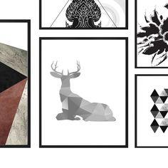 Deer art,Geometric print,Gray print, deer print,deer printable deer wall art antler print ombre art, digital print, deer picture deer poster