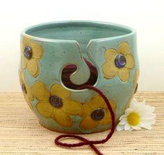 LARGE stoneware pottery yarn bowl yellow daisies by flyingpignc