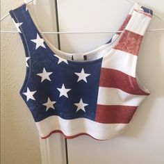 American flag crop top Material feels a little like spandex. Super cute for a Fourth of July party or a music festival! Tops Crop Tops