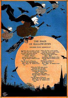 """The Hags of Halloween"" - John Gee. Halloween Poems, Samhain Halloween, Halloween Signs, Halloween Cat, Holidays Halloween, Happy Halloween, Halloween Decorations, Halloween Stuff, Halloween Table"