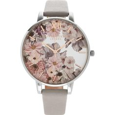 Olivia Burton Parlour Floral Print Big Dial Watch (€97) ❤ liked on Polyvore featuring jewelry, watches, grey, olivia burton, quartz movement watches, stainless steel jewellery, slim watches and grey jewelry