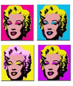 Marilyn Monroe Pop art, florescent colors, bold makeup