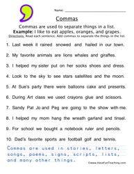 Comma Worksheet 3 | Classroom | Pinterest | Worksheets, Punctuation ...