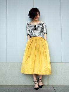 Yellow skirt + stripes