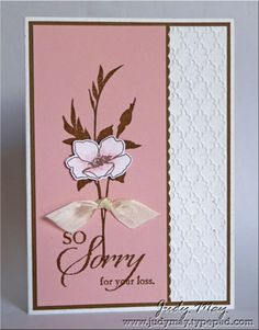 handmade sympathy card ... white, pink and brown ... Fabulous Florets flower ... great mixed font sentiment ... tiny scalloped edge .,.. embossing folder texture ... lovely card ... Stampin' Up!