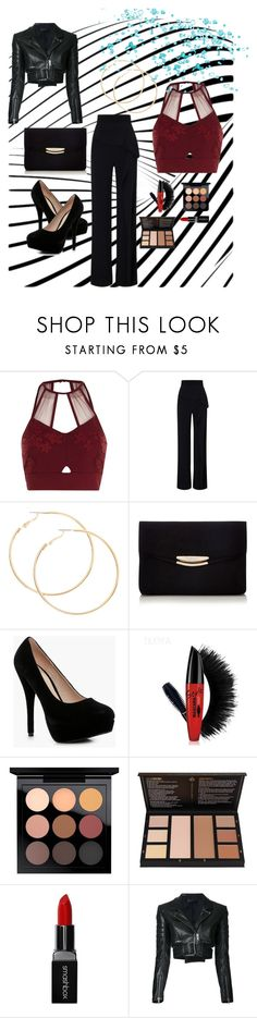 """Night Out"" by gsfstyle ❤ liked on Polyvore featuring River Island, Roland Mouret, Boohoo, MAC Cosmetics, Smashbox and Haider Ackermann"