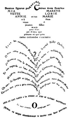 Calligrammes - Guillaume Apollinaire  Poeta que hizo que la palabra dibujaba lo que nombraba. Le quita el protagonismo al libro y se lo da a la palabra
