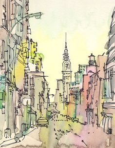 Chrysler Building, Art Deco in New York City, an urban sketch in pastels, pink, green and yellow