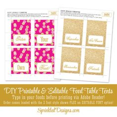 Magenta Bright Pink Gold Glitter Printable by SprinkledDesign
