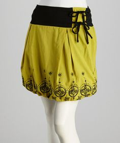 Take a look at this Lime Green & Black Bubble Skirt - Women by Coline USA on #zulily today!