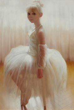 Young Ballerina - fine art original oil on canvas figurative painting by contemporary realism artist Andrei Belichenko