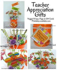 Teacher Appreciation Gift Ideas and Printables-So many ways to Use our Printables!  See all the projects/samples