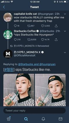 Why isn't Starbucks giving an endorsment to hyungwon yet? Monsta X Hyungwon, Shownu, Jooheon, Kihyun, K Pop, Starship Entertainment, Kpop Entertainment, Monsta X Funny, Funny Kpop Memes
