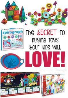 Gifts for Creative Kids Who Like to Design and Build Find a list of amazingly creative toys that will keep your kids engaged and HAPPY over the holidays! Plus – find out the SECRET to choosing toys that are winners every time! {One Time Through} Presents For Boys, Gifts For Kids, Infant Activities, Activities For Kids, Kid Picks, Spirograph, Buy Toys, Childrens Gifts, Toy Craft