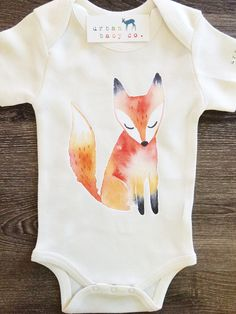 watercolour fox onesie // urban baby co. So Cute Baby, Baby Kind, The Babys, Gender Neutral Baby Clothes, Cute Baby Clothes, Unisex Baby Clothes, Baby Gender, Organic Baby, Organic Cotton