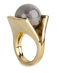 PINBALL RING // hematite and gold // Lele Sadoughi design