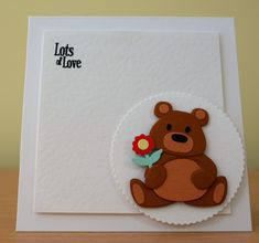 Birthday Card - Marianne Collectables Bear / Panda Die. For more of my cards please visit the CraftyCardStudio on Etsy.com. Flower Birthday Cards, Handmade Birthday Cards, Happy Birthday Cards, Kids Cards, Baby Cards, Xmas Cards To Make, Animal Themed Birthday Party, Teddy Bear Birthday, Marianne Design Cards