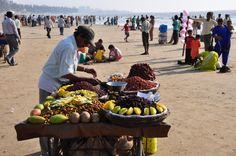 Vendors on the beach in Mumbai