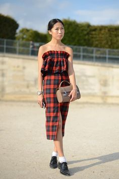 Pin for Later: The Best of Paris Fashion Week Street Style (Updated!) PFW Street Style Day 6 A plaid dress that works just as well for Summer as it does for Fall.