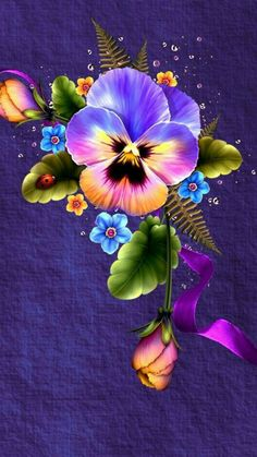My Dad's favorite flower (pansy) and the flower symbol for alzheimer (forget-me-not) Flower Phone Wallpaper, Butterfly Wallpaper, Wallpaper Backgrounds, Iphone Wallpaper, Wallpaper Ideas, Wallpapers, Illustration Blume, Flower Pictures, Fractal Art