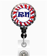 "Bottle Cap Badge Reel ""Patriotic RN"" $9.99 http://www.uniformadvantage.com/pages/prod/patriotic-rn-badge-reel.asp?navbar=2"