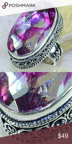 Snakeskin Quartz Antique 925 Silver Ring size6 3/4 Gorgeous snakeskin quartz antique 925 Silver.... main gemstone 18*32 mm...ring size 6 3/4 Jewelry Rings