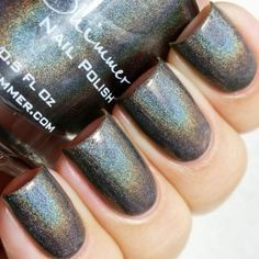 KBShimmer - Coal In One – A charcoal gray linear holographic polish with 2 coat coverage.