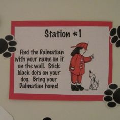 fire truck party-Put Black Sticky Dots (from an office supply store) on a Dalmatian