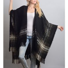 """Autumn Moonlight"" Plaid Print Poncho Wrap Shrug Plaid print poncho wrap cardigan. Available in black, navy and red. This listing is for the BLACK. Brand new. One size fits most. NO TRADES. Bare Anthology Sweaters Shrugs & Ponchos"