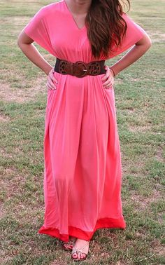 DIY: Boho Maxi Dress. If you run two a row or two of elastic/elastic thread under your bust you can make an empire waist; no belt needed :) Also, she gives tips on sewing with knit