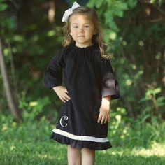 Lolly Wolly Doodle Black Corduroy White Ruffle Dress 9/6