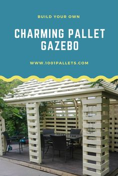 Complete pallet pavilion built with repurposed EURO pallets. Really beautiful work but not for beginners. Free Pallet Plans & Tutorials!Get …