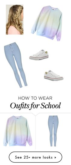 """Quick School Outfit"" by pema529 on Polyvore featuring Topshop, Converse and vintage"