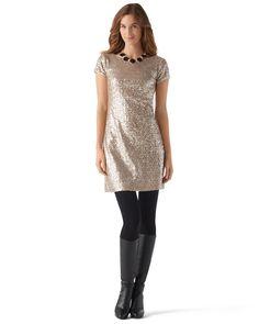 Mixed Metallic Sequin Party Dress