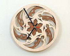 12'' Wooden Wall Clock / Home Decor / Housewares / by JVKWOODWORK