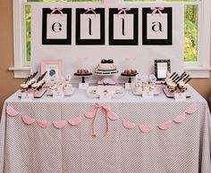 Pink and black tablescape... Baby shower ideas for a baby girl